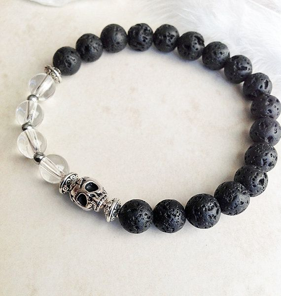 Black Lava Stone Crystal Quartz and Hematite by InnerFireJewelry $15 - Click pic to buy NOW. ONLY 1 LEFT #skulljewelry #halloweenjewelry #dayofthedead