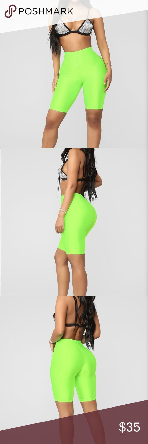 Neon Green Biker Shorts Knee length neon green biker shorts has stretch and are …   – Women's Style