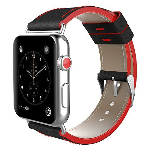 Apple Watch Band, top4cus Genuine Leather iwatch Strap Replacement Band with Stainless Metal Clasp for Apple Watch Series 3 Series 2 Series 1 Sport and Edition (42mm, Be sport style - Black / Red) #Apple #Watch #Band, #topcus #Genuine #Leather #iwatch #Strap #Replacement #Band #with #Stainless #Metal #Clasp #Series #Sport #Edition #(mm, #sport #style #Black #Red)