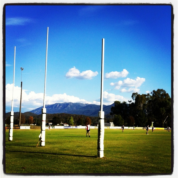 Myrtleford Saints footy match at the home ground. You can't get views like that at the MCG!