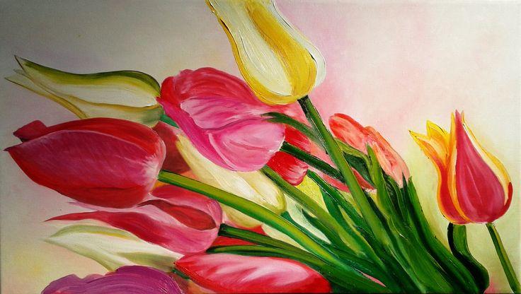 Elisa Figueroa Tulipanes óleo sobre tela de 70 x 40, (pintura original, inspirada en fotografía)
