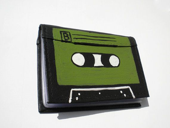 Leather wallet business cards holder  Black and by DropsOfArt, €20.00