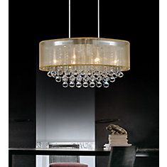 Oval 26 Inch Ceiling Chandelier with Gold Shade