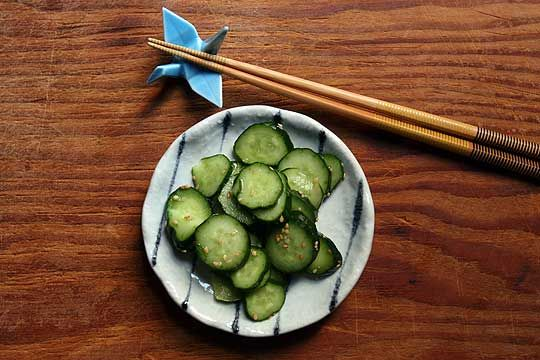 Easy Japanese Pickled cucumber salad. I just made this recipe tonight. We'll see how it taste tomorrow night or in a couple of days. :)