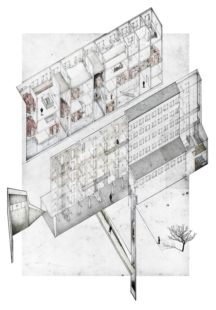 Mskafte axonometric pencil on paper digital collage for Paper for architectural drawings