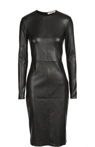 Женское чёрное приталенное кожаное платье с длинным рукавом Givenchy, сезон FW 16/17, арт. 16A/2630/653 купить в ЦУМ   Фото №1