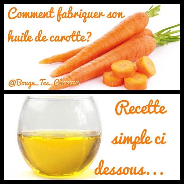 L'huile de carotte est excellente en soin bonne mine pour le visage, illuminera votre teint et agira comme auto bronzant naturel. Pour le corps, en soin après soleil, l'huile de carotte permettra de prolonger la durée du bronzage. Ingrédients: • 2 carottes non traitées • huile de tournesol ou sésame ou pépin de raisin ou de colza (Pas d'autres) Il vous faudra aussi un bocal en verre. Recette: 1/ Lavez soigneusement les carottes sans les éplucher. 2/ Râpez grossièrement les carottes avec…
