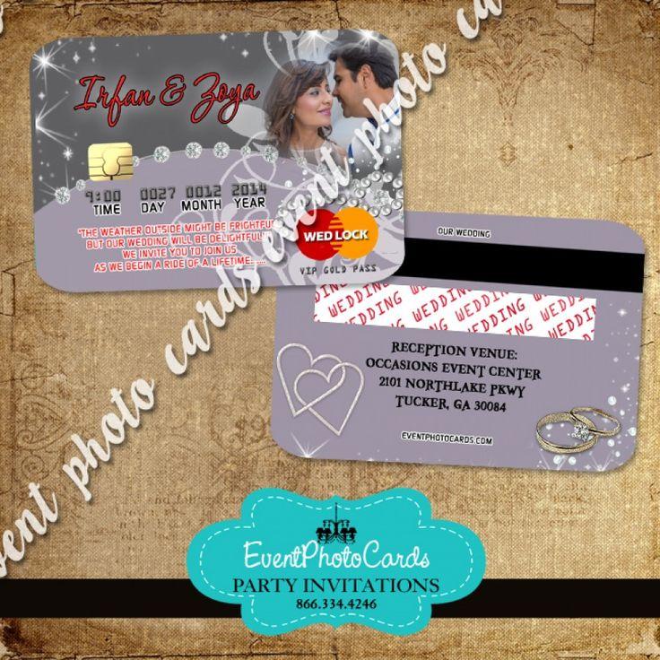 Grey Silver Wedding Credit Card Invitations
