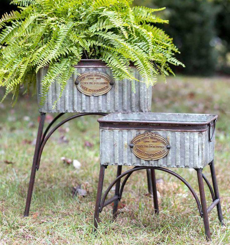 RUSTIC DECOR 2pc POLAND Tubs Garden Plant Stands