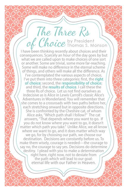 4x6 Handout The Three Rs of Choice by Thomas S. Monson #lds #thomassmonson #sharegoodness