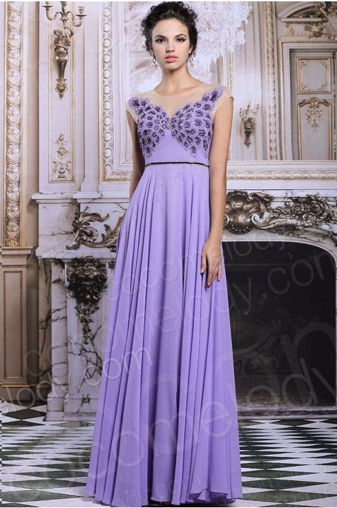 Graceful A-Line Bateau Natural Floor Length Chiffon Purple Sleeveless Key Hole Bridesmide Dress with Beading COKF1500C #bridesmaid #dress #cocomelody
