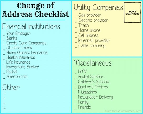 Moving and packing tips - Ask Anna. Good list on who to contact with your address change.