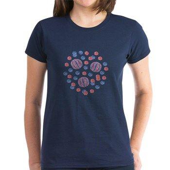 Women's Dark T-Shirt With Red-Blue Balls