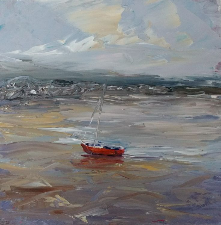 Mini oil painting - The Red Boat - North Beach