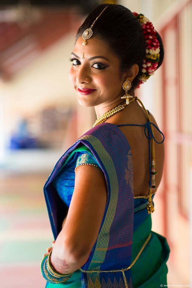 South Indian bride. Temple jewelry. Jhumkis Blue and purple silk kanchipuram sari.Braid with fresh flowers. Tamil bride. Telugu bride. Kannada bride. Hindu bride. Malayalee bride.Kerala bride.South Indian wedding.