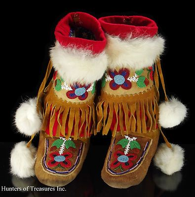 Old Vtg Indian Beaded Boots CREE Native American Beadwork Adult Mukluks Moccasin | eBay