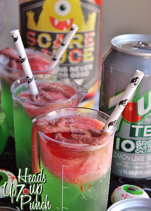 Heads Up 7 Up Zombie Punch- Strawberry Sherbert and Green 7Up TEN with JELLO Worms- Sparkling Dr Pepper TEN JELL-O Worms Made with sugar-free JELL-O, Dr Pepper TEN, Gelatin, and Heavy Whipping Cream. #DrinkTEN #shop #CollectiveBias
