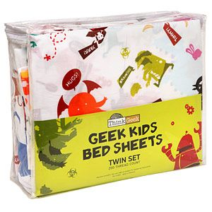 Super rad twin bed sheets on sale at ThinkGeek.com on sale for only $9.99/set!  Ah...ninjas, pirates, monsters and bacon make for sweet dreams!!!