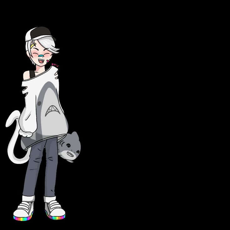 Fullb0dy gaiaonline avatar SHARK THEME ANIME BOY HAT CMYK RAINBOW SHOES BANDAI FACE WITH BLACK AND WHITE HAT CAT TAIL WHITE SILVER HAIR STYLIZED SHARK PLUSHER SHARP TEETH SMILING WITH COLORFUL FACIAL BANDAID