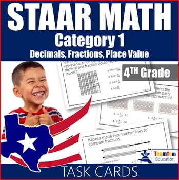 STAAR Math 4th Grade Review Task Cards. This set includes 16 STAAR prep task cards for category 1: numbers and operations, numerical representations, and relationships. All questions are aligned with STAAR released tests and are designed to prepare students for the STAAR test!