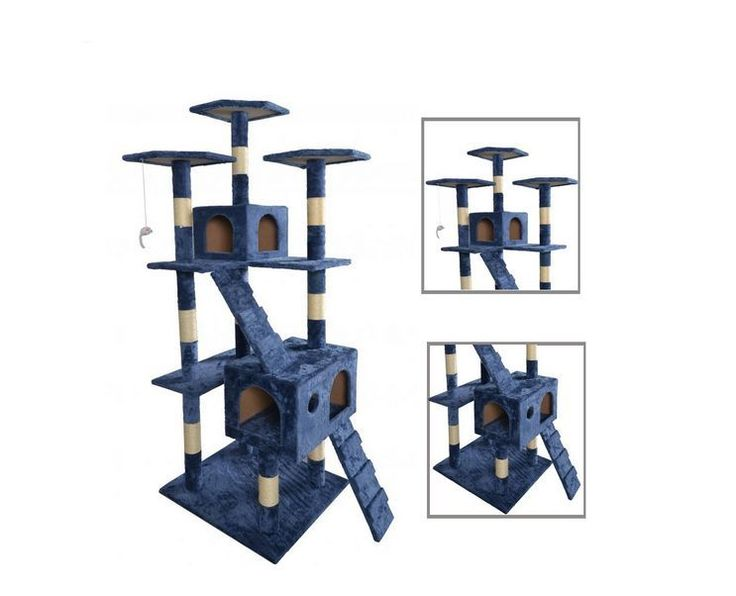 Navy Blue Cat Tree Scratcher Play House Condo Furniture Toy Bed Post Pet House  #BestPet