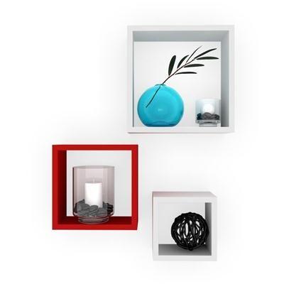 Buy Desi Karigar Wall Mount Shelves Square Shape Set of 3 Wall Shelves: Red