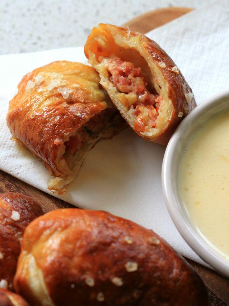 Chorizo and gruyere pretzel bites