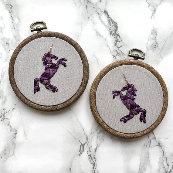 Purple unicorn hand embroidered wall art  Geometric nursery