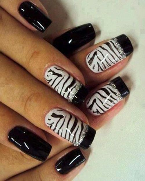 Stamped Zebra Nails with Glitters  | See more at http://www.nailsss.com/colorful-nail-designs/3/