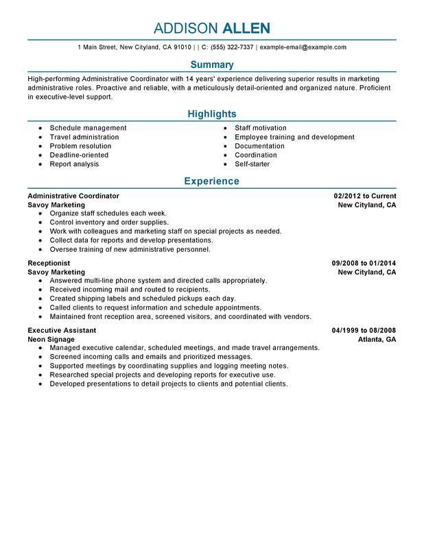 Use This Professional Administrative Coordinator Resume Sample To Create Your Own Powerful Job Ap Resume Summary Examples Resume Examples Sales Resume Examples
