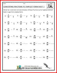 Converting Fractions to Simplest form, simplifying fractions worksheet