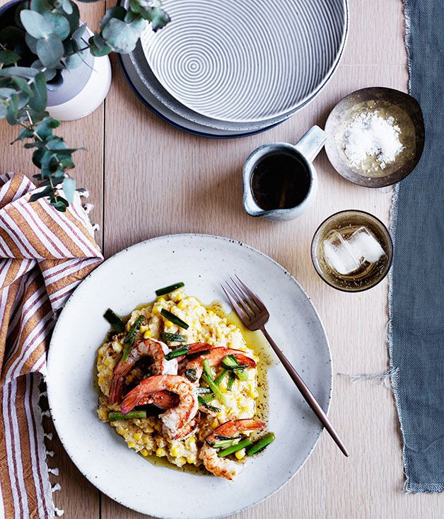 Grits and prawns, a classic combination in the US, are taken to the next level here with the addition of fresh corn.
