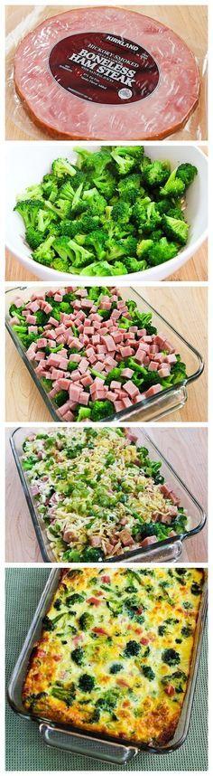 Kinda like quiche - Broccoli, Ham, and Mozzarella Baked with Eggs