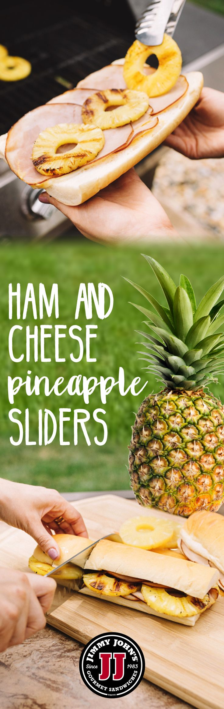 JIMMY AT HOME: HOT PEPE & PINEAPPLE SLIDERS! Check out this tasty Jimmy John's menu hack for when you've got a few extra minutes at home! These Pepe & Pineapple sliders are perfect for dinner, tailgates or a backyard luau!