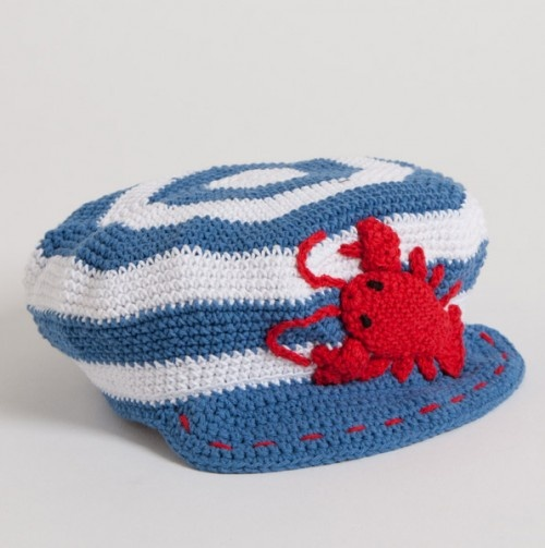Striped Cap with Lobster
