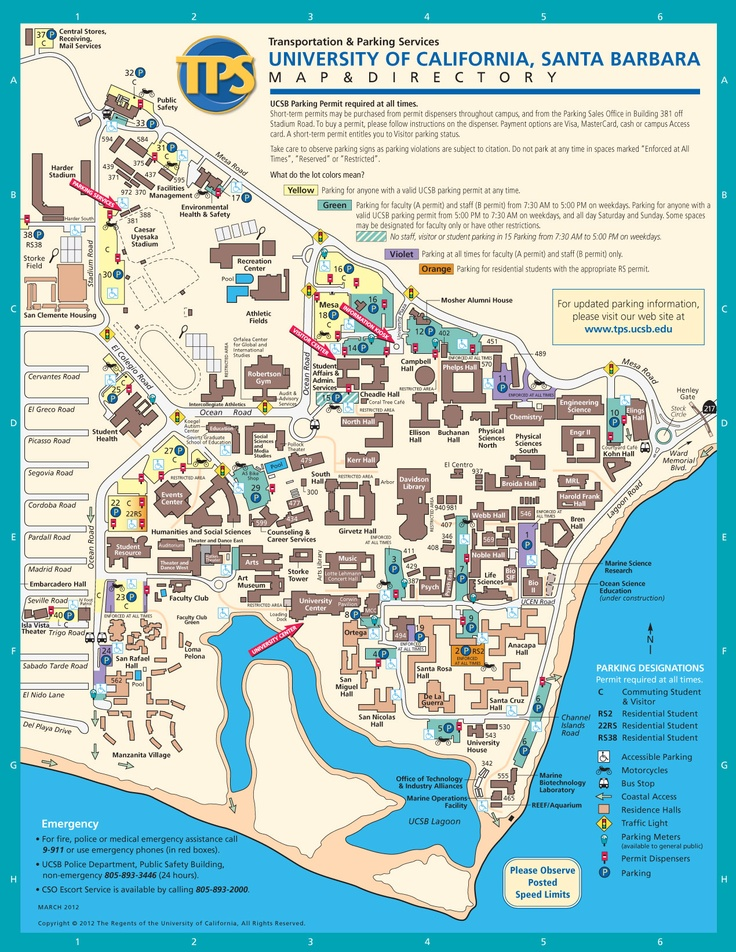 UCSB Campus Map, Santa Barbara, California  {Bio-image internship. huge place! - campus map}