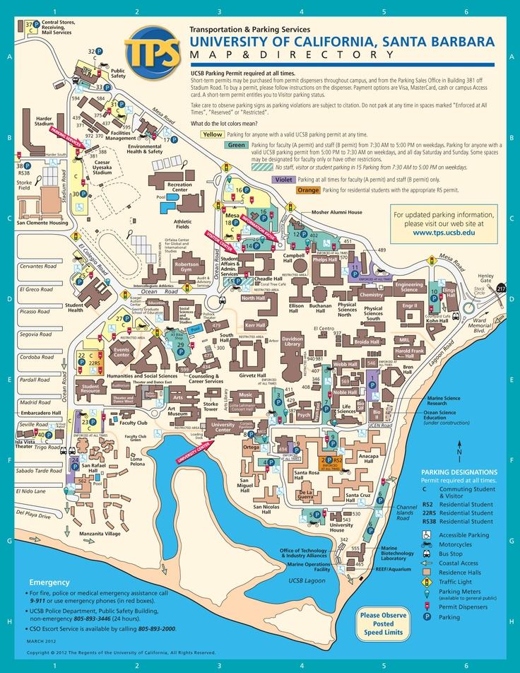 UCSB Campus Map, Santa Barbara, California  {Bio-image internship. huge place! - campus map}