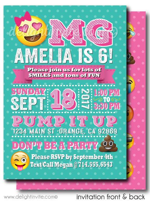 OMG Emoji Birthday Party Invitations - Click Image to Close