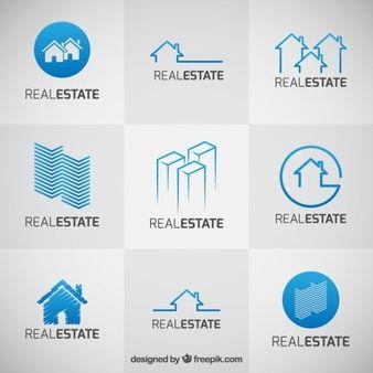 Colección de logos azules de inmobiliarias                                                                                                                                                                                 Más
