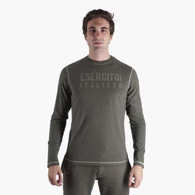 T-shirt invernale a manica lunga in morbido cotone. Girocollo e vestibilità classica. Elegante stampa e flock a petto dedicato all'Esercito ...