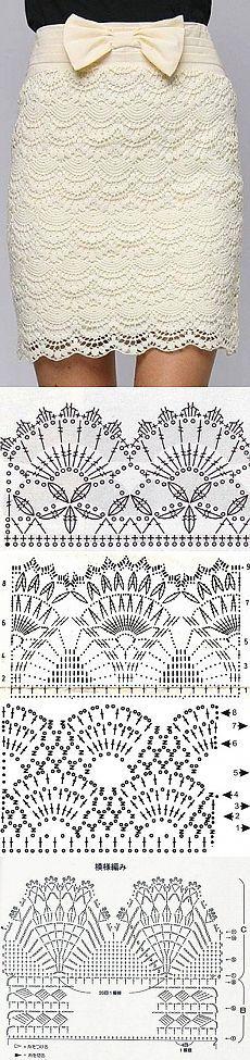 Lace fans & pineapple stitches ~~ Lace ground ~~ Подборка шаблонов для вязания крючком, схемы вязания юбки | Лаборатория домашнего хозяйства