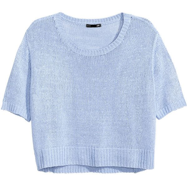 H&M Knitted jumper (5160 SYP) ❤ liked on Polyvore featuring tops, sweaters, light blue, light blue top, blue short sleeve top, h&m jumpers, h&m sweaters and short sleeve tops