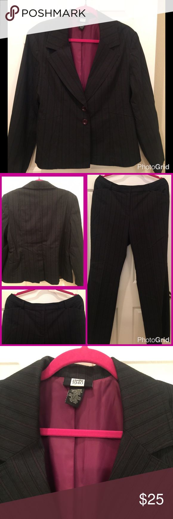 Studio 1940 Dark Gray Ladies Business Suit Size 14 Fully lined pants suit in good condition.  Pink pin stripes on dark gray. Studio 1940 Other