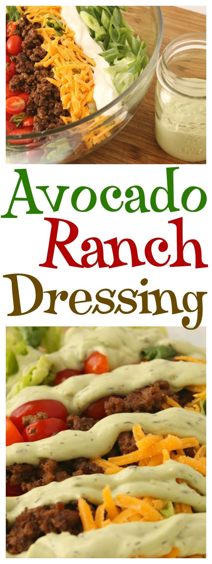 Simple and delicious Homemade Avocado Ranch Dressing perfect for all of your favorite Mexican dishes! http://moscatomom.com/homemade-avocado-ranch-dressing/