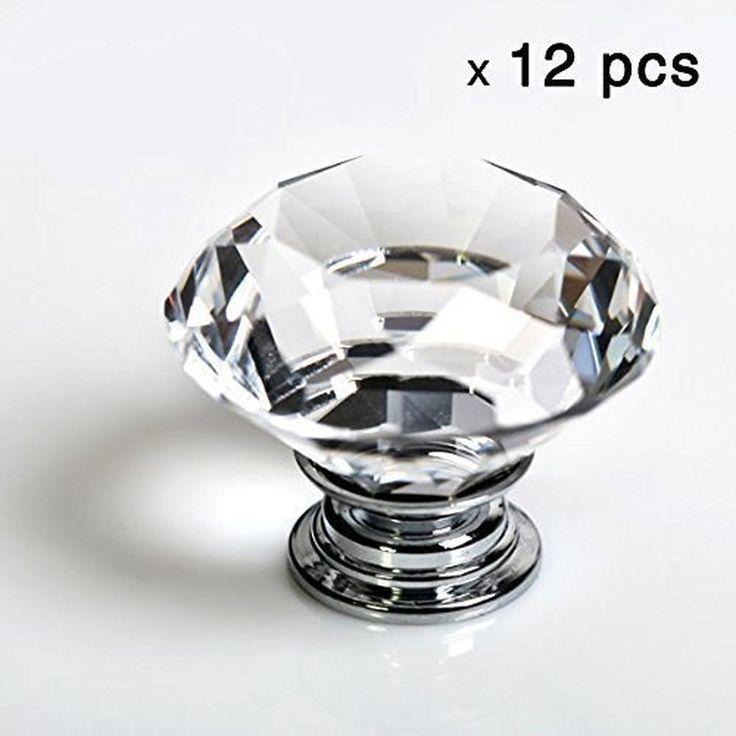 12pcs Diamond Shape Crystal Glass 30mm Drawer Knob Pull Handle Usd for Caebin... #iQualite