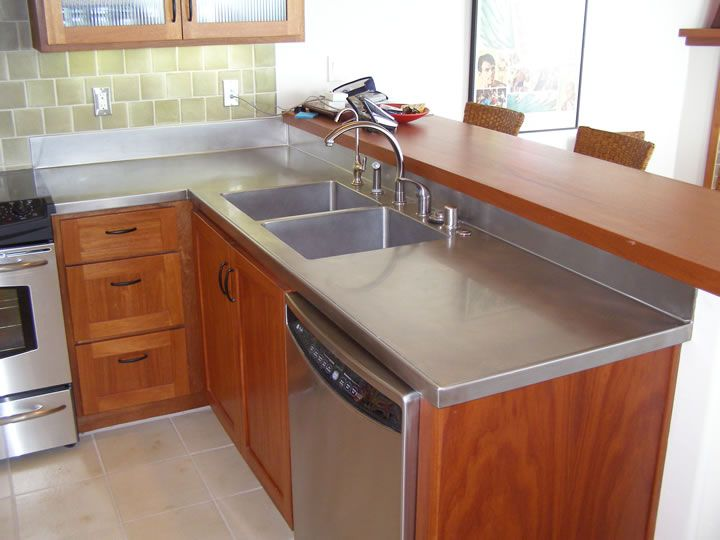 12 best stainless steel countertops images on pinterest for Stainless steel countertop with integral sink