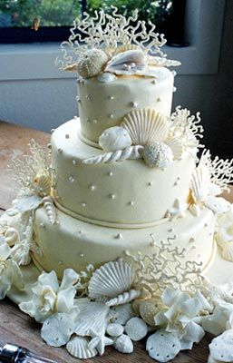 Beach themed cake with coral. Moontide on New Smyrna Beach is perfect for a Florida beach wedding! Http://www.TheMoontide.blogspot.com