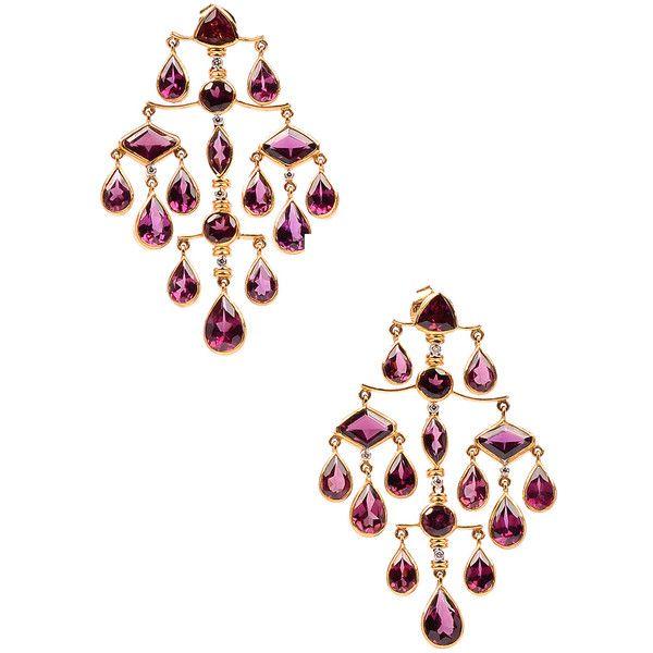 Amrita Singh Women's Zahra 14K Yellow Gold, Tourmaline & 0.37 Total... ($2,295) ❤ liked on Polyvore featuring jewelry, earrings, multi, yellow gold diamond earrings, diamond chandelier earrings, gold chandelier earrings, long gold earrings and 14k diamond earrings