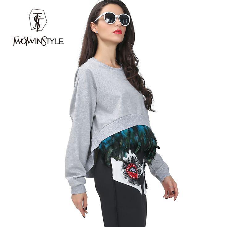 Купить товар[TWOTWINSTYLE] уличная обрезанные толстовки sweatershirt женщины придают перо с длинным рукавом негабаритных осень 2016 новая мода топ в категории Толстовки и кофтына AliExpress.  ПОЧТОВЫЕ < >:мы предоставляем бесплатная экспресс-доставка через UPS/DHL/FEDEX/EMS TNT/ARAMEX/для большой ч