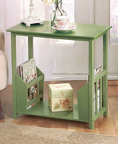 In addition to a spacious surface for a lamp and more, this Wooden End Table with Double Magazine Rack has 2 racks for storing reading materials. #endtable #livingroom